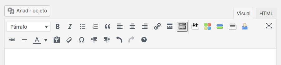 barra herramientas wordpress